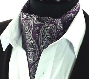 Noir et Argent Motif Cachemire à Motifs Fait Main Cravate 100/% soie