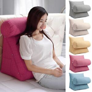 Back-Wedge-Cushion-Adjustable-Bed-Sofa-Office-Neck-Waist-Lumbar-Soft-Pillow-USA