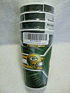 NEW-In-Package-GREEN-BAY-PACKERS-NFL-Licensed-16oz-Holographic-3-D-Cups-4-Pack