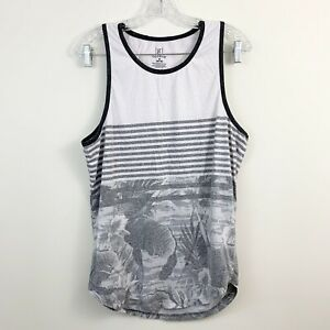 George-Striped-Tropical-Floral-Mens-Muscle-Tank-Top-Size-Medium