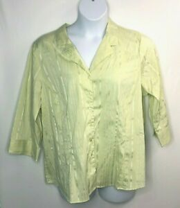 Avenue-Women-039-s-Stretch-Blouse-Top-3-4-034-sleeves-Lime-Green-Size-22-24