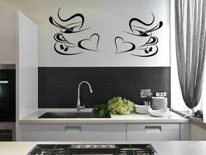 2 Coffee Cups Kitchen Wall Stickers Cafe Vinyl Art Decals.