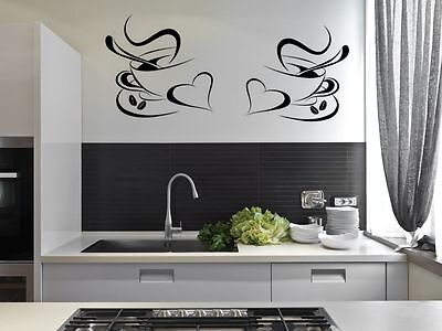 2 Coffee Cups Kitchen Wall Stickers Cafe Vinyl Art Decals