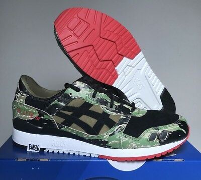 ASICS TIGER × ATMOS GEL LYTE III 3 Pour Vert Camouflage HK724 8890 Rouge Noir Taille | eBay