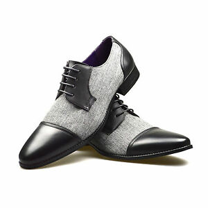 mens leather shoes grey black formal dress office casual