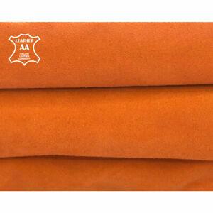 Gen Summer Color Velour Orange Suede Leather Pieces Soft Lambskin Hides