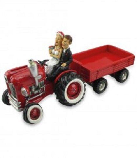Spardose Funny World Les Alpes Traktor mit Anhänger und Brautpaar 014 11715