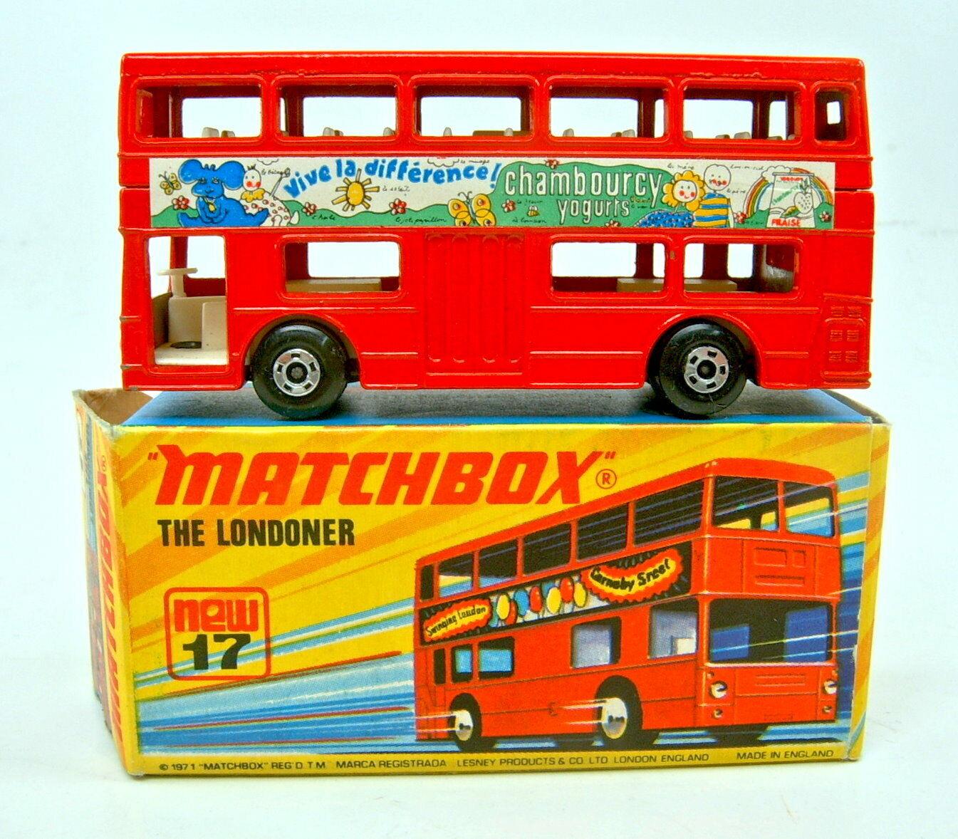 Matchbox No.17B London Bus rouge body   Charmbourcy Yoghurts  rare promo issue  liquidation de la boutique