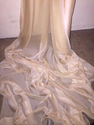 "1 MTR LIGHT GOLD CATIONIC SHEER BRIDAL DRESS CHIFFON FABRIC ..58/"" WIDE £2.50"
