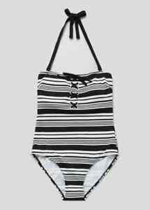 BNWT-Matalan-Negro-Blanco-Con-Cordones-Con-Textura-traje-de-bano-Tamano-14-J