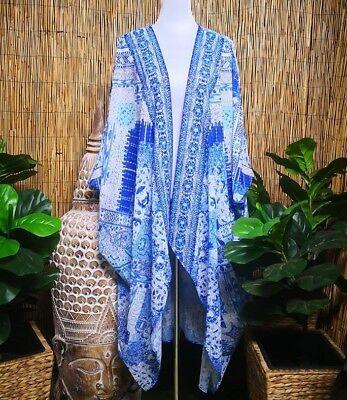Plus Size Oversize Long Embellished Blue Batwing Kimono OSFA 16-18-20-22-24-26