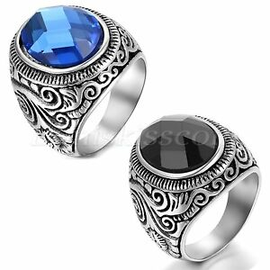 Men-039-s-Womens-Vintage-Patterned-Stainless-Steel-Charm-Ring-Band-With-Glass-Stone