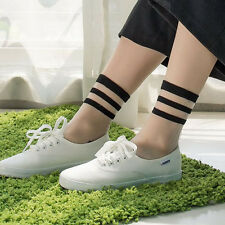 Women's Sexy Cotton Ultrathin Transparent Crystal Lace Elastic Short Socks