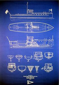 "Vintage US Lighthouse Service Boat 1915 Print Blueprint Plan 24""x35"" (024)"