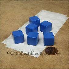 NEW Set of 6 Blank Dice - 16mm Blue - D&D RPG Gaming 5/8 inch D6