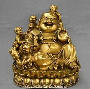 Chinese Tibet Buddhism old bronze ruyi Maitreya Buddha Five son Buddha statue