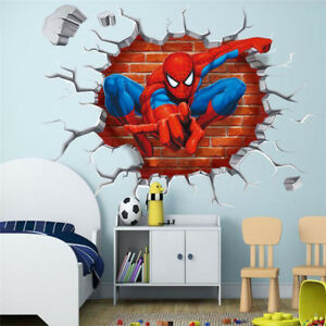 Details about 3D Wall Stickers Crack Spiderman Marvel Superhero Avengers  Boys Bedroom Decor K