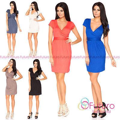 Nachdenklich Womens Sexy Mini Draped Dress Short Sleeve Tulip Style V-neck Sizes 8- 18 5416 Herausragende Eigenschaften