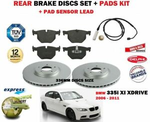 FOR BMW 335i 2006-2011 REAR BRAKE DISCS 336MM SET AND DISC PADS KIT + SENSOR kit