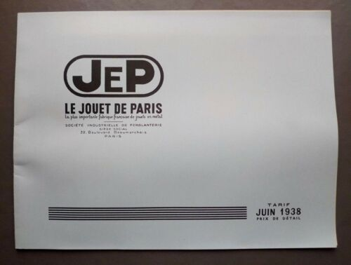 Catalogue fac-similé des Jouets JEP Juin 1938 et Jouets L.R