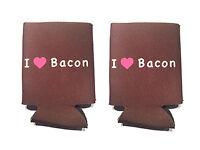 I Love Bacon Koozie - 2 Pack - Foam Koozies Beer Can Cooler Soda Insulator