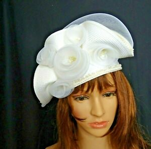 Vintage Hat Deborah New York Elegant Dressy Church White Rosettes Bow Swirls
