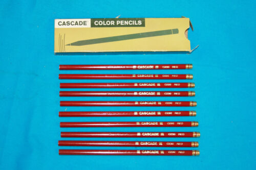 10 VINTAGE CASCADE RED COLOR PENCILS # C230 UNSHARPENED