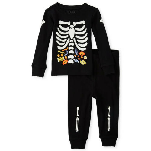 NWT The Childrens Place Mummy Ghost Skeleton Glow in the Dark Halloween Pajamas