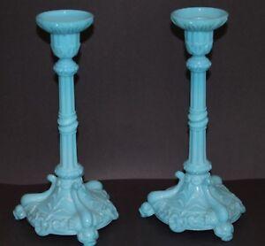 Antique-Portieux-French-Blue-Milk-Glass-Pillar-Serpent-amp-Koi-Fish-Candlesticks