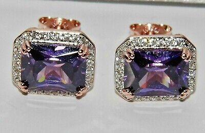 9ct Rose Gold on Silver Morganite /& White Topaz Ladies Dropper Stud Earrings
