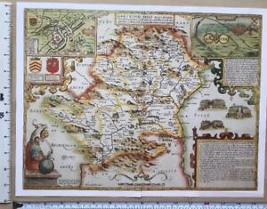 Map Of England 1600.Details About Old Tudor Map Hertfordshire England John Speed 1600 S 15 X 11 Reprint