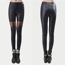 Womens Faux Leather Leggings Punk Pant Gothic LOLITA Rock Lace Bandage Jeggings