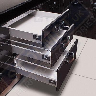 White Soft Close Kitchen Drawer Runners System Modern Box Mb Like Blum Allsizes Ebay