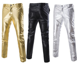 1e4f51a2 Fashion Mens Faux Leather Pants Joggers Hip Hop Pants Motorcycle ...