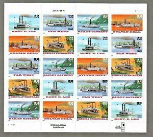 US #3091-3095 MNH, RIVERBOATS Sheet , FV $6.40 (1996)
