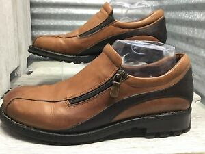 Donald-J-Riner-Brown-Leather-Made-In-Italy-Women-039-s-Comfort-Loafer-Size-8-5-Zip