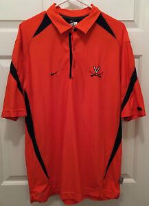 Virginia UVA Cavaliers Football Team Issued Nike Orange Blue Polo Shirt Medium
