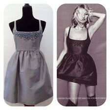 Topshop New Dress Cocktail Party Prom RRP £65 Kate Moss Silver Silk Size 8 to 10