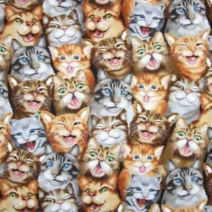 100-Cotton-Fabric-Timeless-Treasures-Cats-Selfie-Cat-Kitten-Silly-Faces
