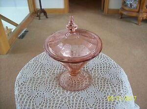 Crystal-Etched-Vtg-Elegant-Pink-Depression-Covered-Compote-Candy-Dish