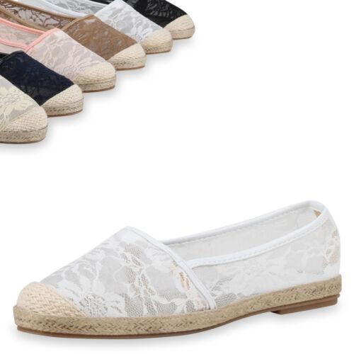 Damen Slipper Espadrilles Bast Spitze 75895 Schuhe Trendy Neu