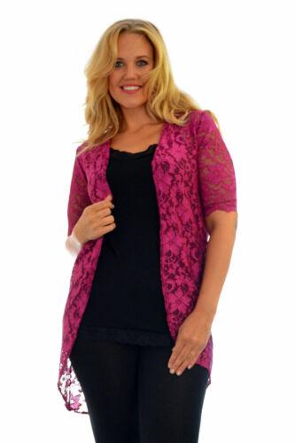 Da Donna Kimono Cardigan Donna Pizzo FESTONI Bordo Floreale aperto Plus Size NOUVELLE