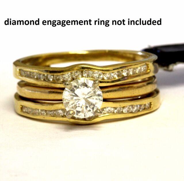 18k yellow gold round diamond engagement ring wrap 4.5g ladies jacket