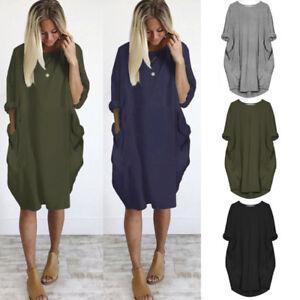 Details about Women Pocket Dress Lady Crew Neck Casual Baggy Long Tops  Dress Plus Size Blouse