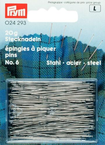 Prym Stecknadeln 0,60x30 mm silberfarbig 20g  Stahl Nadel  024293