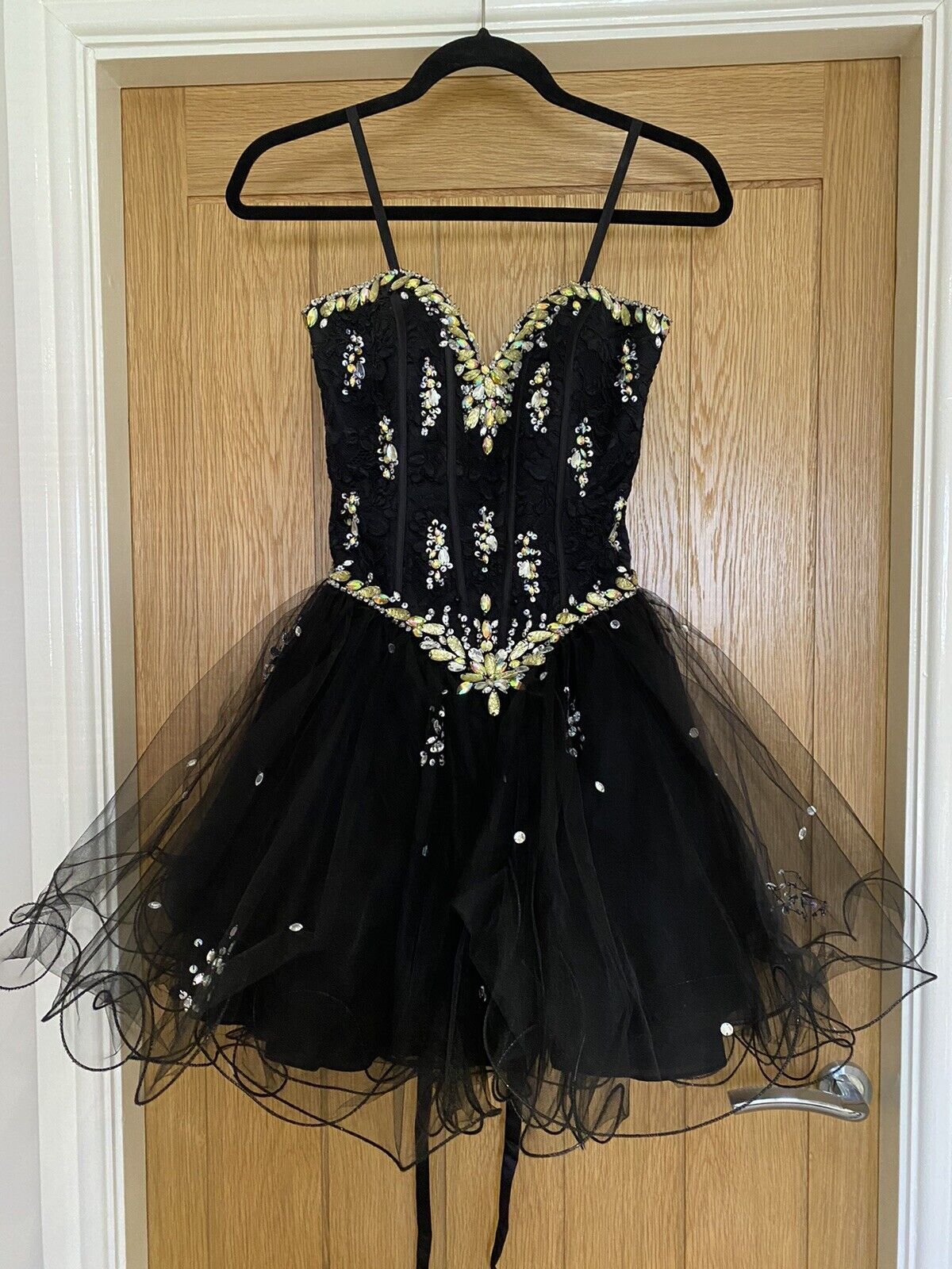 Morilee By Madeline Gardner Size 6-8 Short Prom/ Evening Dress Black With Beads
