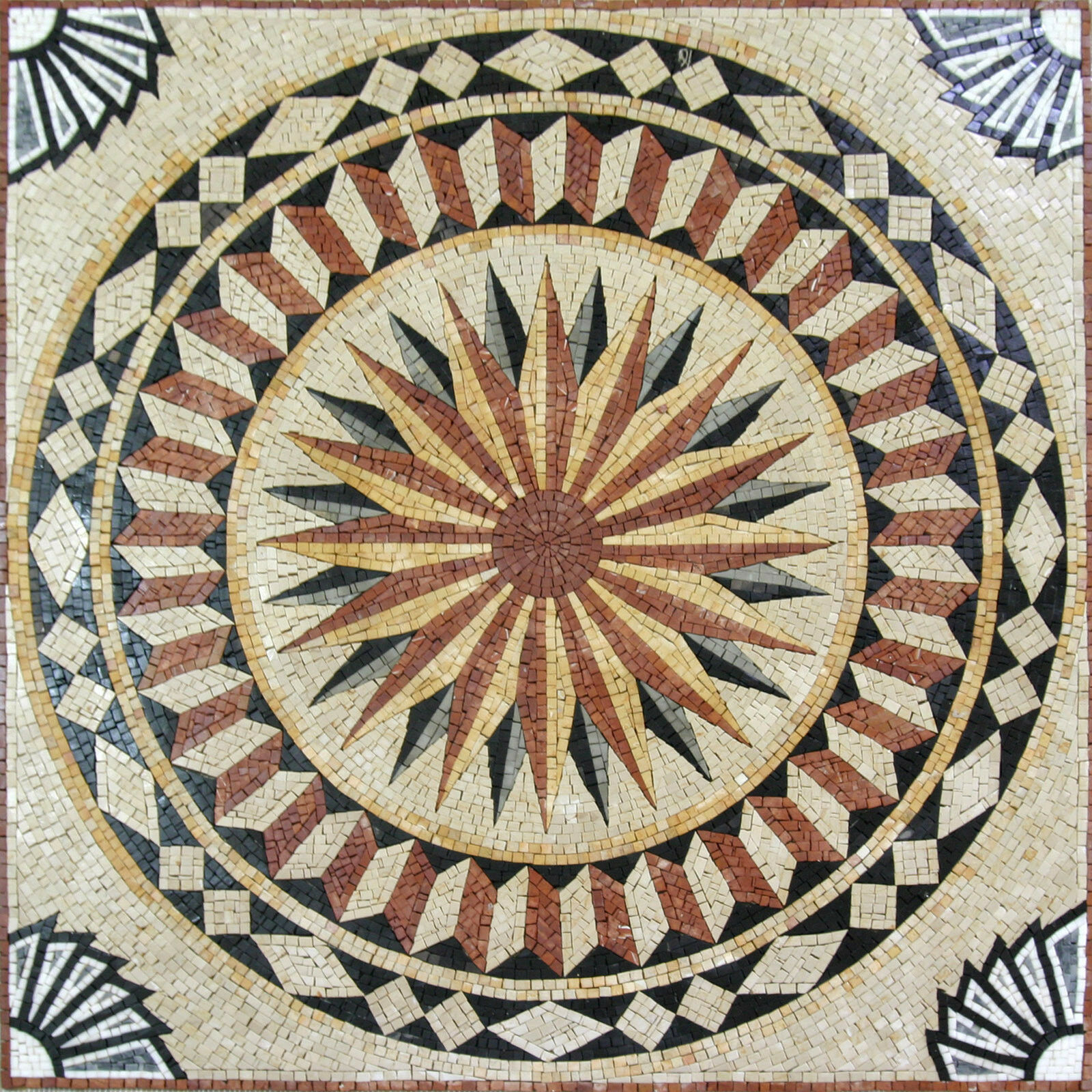 Modern Geometric Nautical Compass Motif Pool Home Marble Mosaic GEO1379