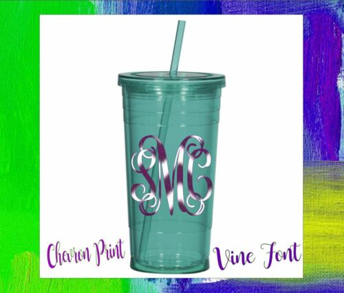 """Monogram Vinyl Decal for Your Rambler Tumbler Cups 3-initials 2.5/"""" Personalized"""