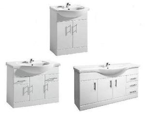 Image Is Loading Windsor White Gloss Bathroom Vanity Units Ceramic Basin
