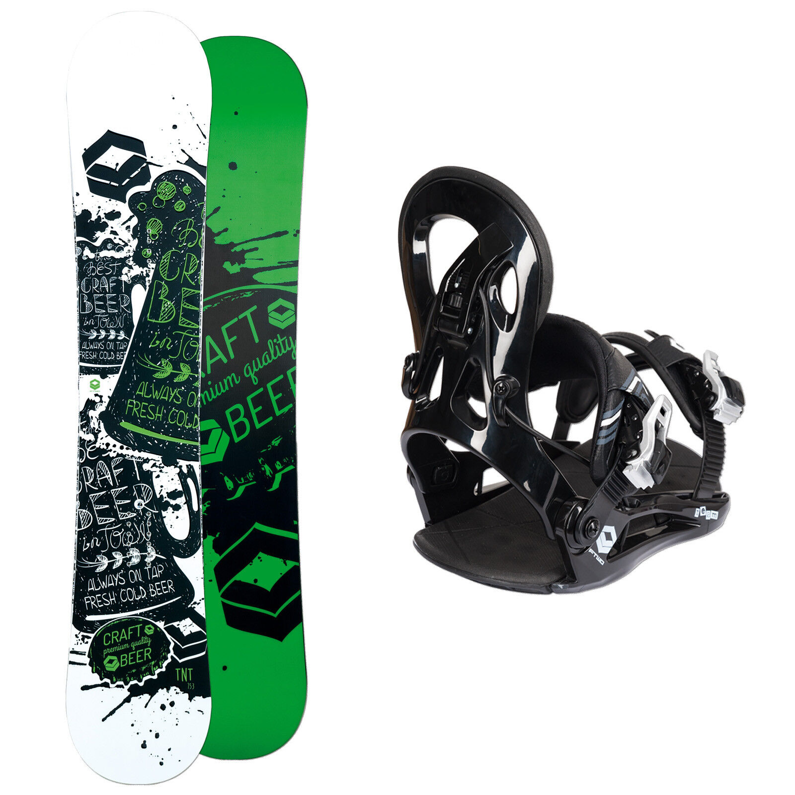 Men's Snowboard Ftwo Tnt Green 138 cm + Ftwo Team Fastec Binding SIZE M